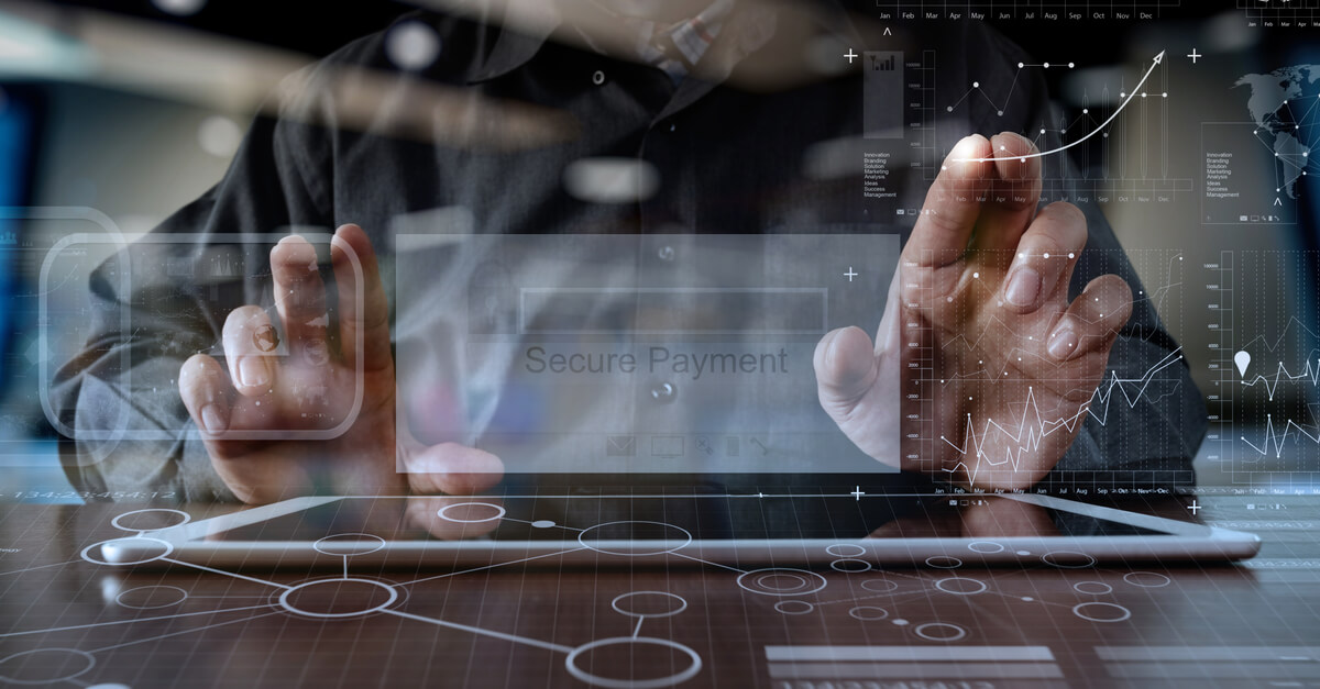 man working on tablet with overlay of secure payment field