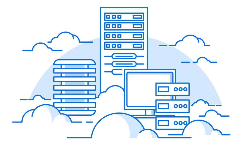 image of computer, servers, and database in cloud