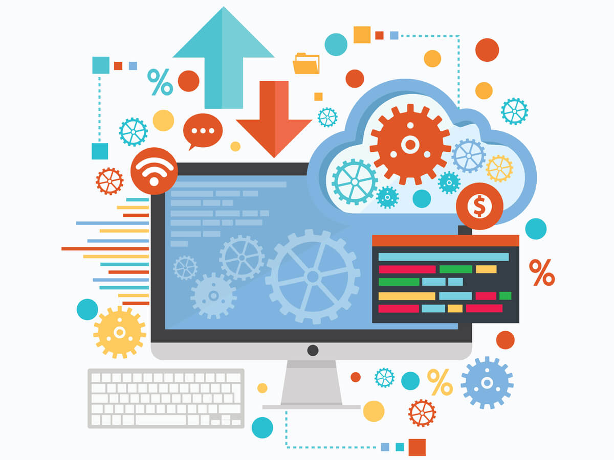 graphic of computer with gears and a cloud icon