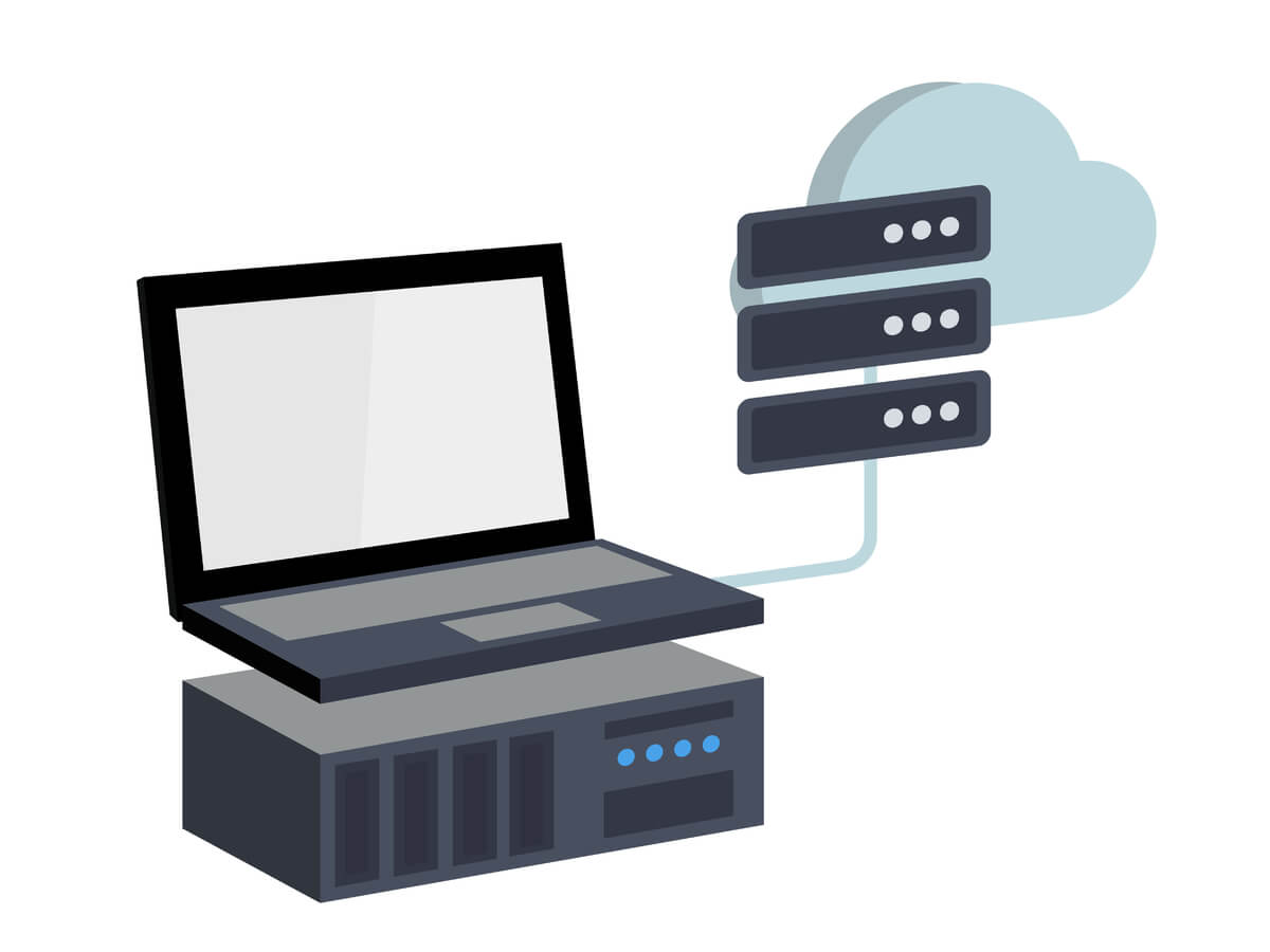 computer and server with a cloud server icon representing virtualization technology