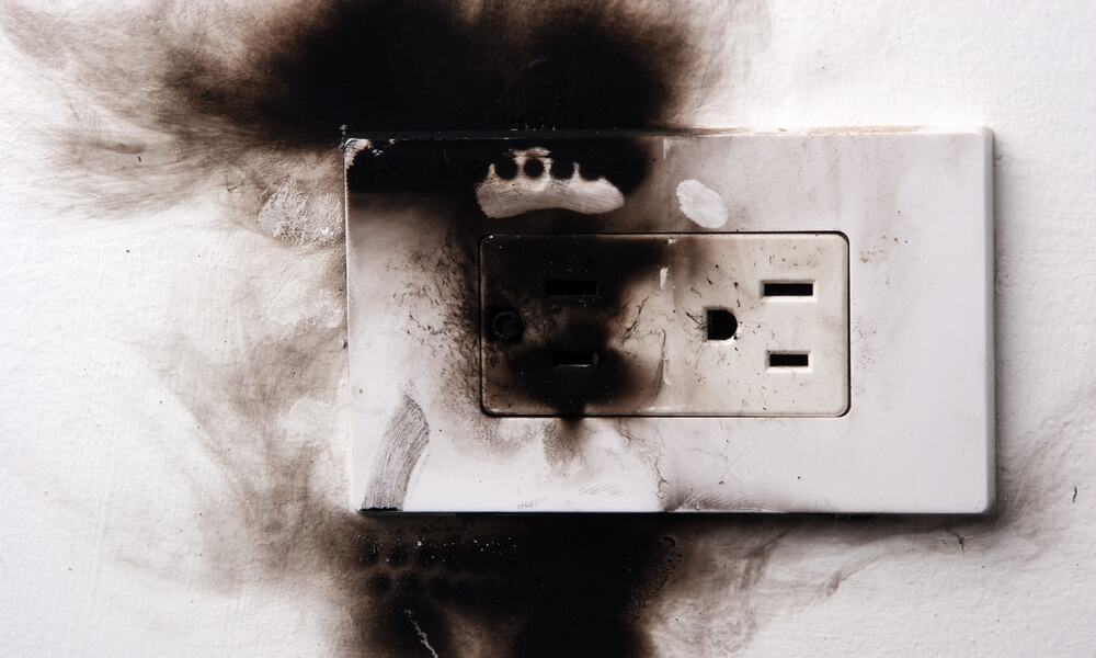 Blown out electrical socket.