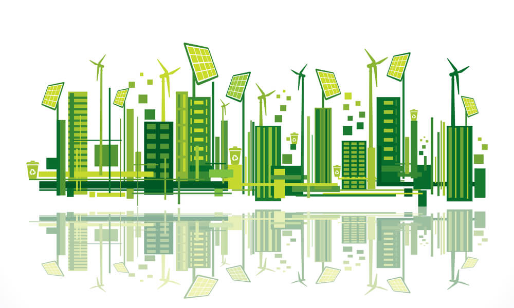 image of city using energy efficient green IT services